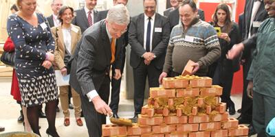 visite du roi au centre de construction de Bruxelles formation