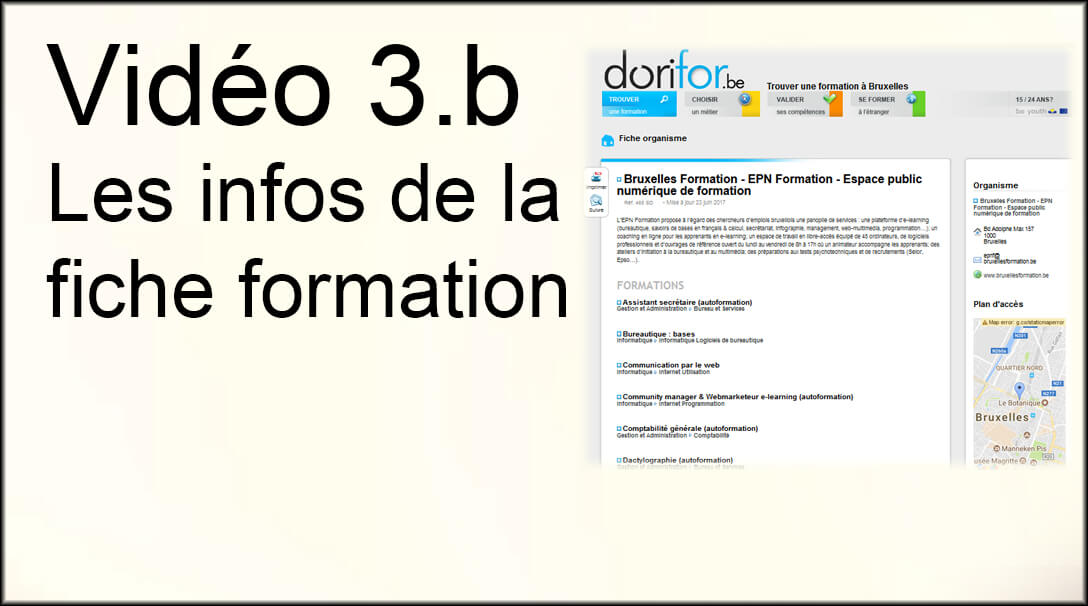 Vidéo 3.b : Les infos de la fiche formation